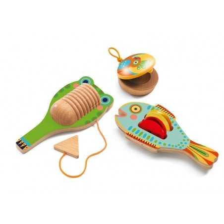 SET DI PERCUSSIONI 3 pezzi ANIMAMBO gioco in legno DJECO animali DJ06020 età 3+ Djeco - 1