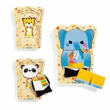 PUZZLE in legno LUCKY & CO gioco DJECO 3 livelli 6 PEZZI con base DJ01488 incastri ANIMALI età 18 mesi+ Djeco - 1