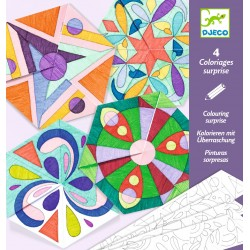 MANDALA E ROSONI DA COLORARE kit artistico COLOURING SURPRISE creativo DJECO 4 forme DJ09656 età 6+ Djeco - 2