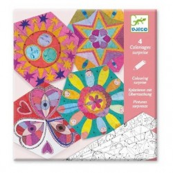 MANDALA E COSTELLAZIONI DA COLORARE kit artistico COLOURING SURPRISE creativo DJECO 4 forme DJ09655 età 6+ Djeco - 1