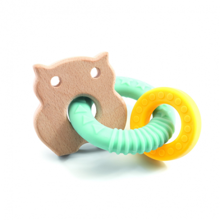 DOPPIO ANELLO in legno e silicone BABY BOBY per la dentizione DJECO bebe DJ06113 0 mesi + Djeco - 1