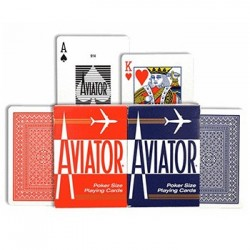 AVIATOR 2 mazzi DA GIOCO playing cards CLASSICO ramino 52 + 52 CARTE poker size 914 Raven Distribution - 1