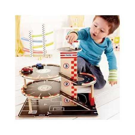 GARAGE PARCHEGGIA E VAI gioco in legno macchinine età 3+ Hape Hape - 1