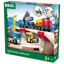 SET CAVA CON FERROVIA E STRADA rail & road loading set BRIO WORLD in legno e plastica 33210 trenino 3+ BRIO - 1