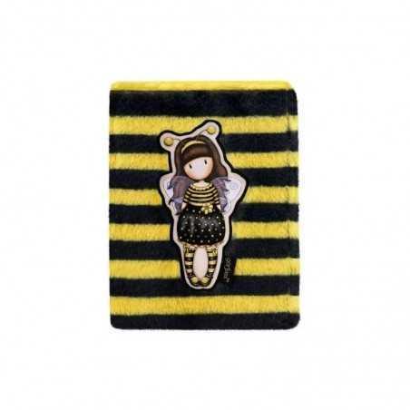 FURRY NOTEBOOK copertina effetto peluche GORJUSS 192 pagine 922GJ01 giallo e nero SANTORO taccuino BEE LOVED Santoro - 1