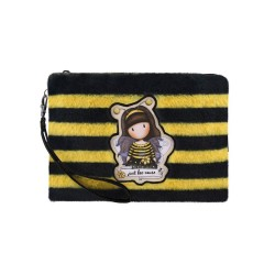 BUSTA LARGE H2 effetto peluche BEE LOVED con zip 981GJ01 giallo e nero GORJUSS astuccio SANTORO Gorjuss - 2