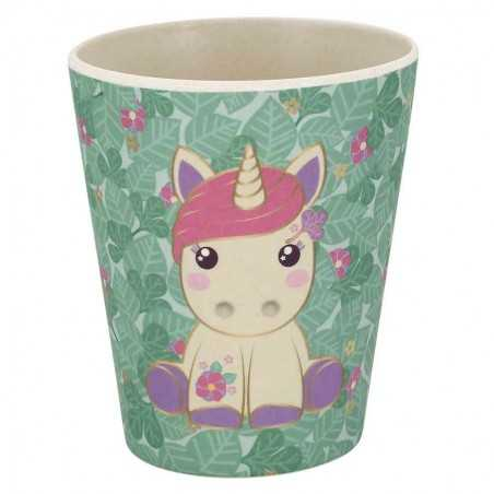TAZZA mug IN BAMBOO cup DASHA the aird group CANDY CLOUD unicorno VERDE foglie BIEMBI - 1