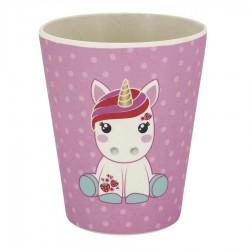 TAZZA mug IN BAMBOO cup BELLA the aird group CANDY CLOUD unicorno ROSA pois BIEMBI - 1
