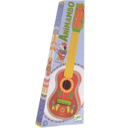 CHITARRA ANIMAMBO 4 note IN LEGNO gialla e rossa DJECO con plettro e corde DJ06013 età 3+ Djeco - 1