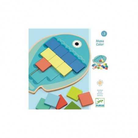 MOSA COLOR puzzle IN LEGNO incastri PESCE gioco 39 PEZZI djeco 10 MODELLI mosaico DJ01665 età 3+