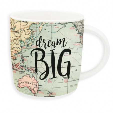 TAZZA mug BUONGIORNO porcellana DREAM BIG bone china LEGAMI mappa 0.35 LITRI