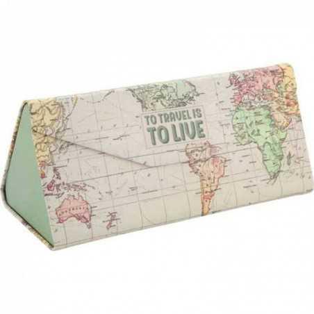 CUSTODIA PER OCCHIALI PIEGHEVOLE to travel is to live MAPS see you soon LEGAMI salvaspazio