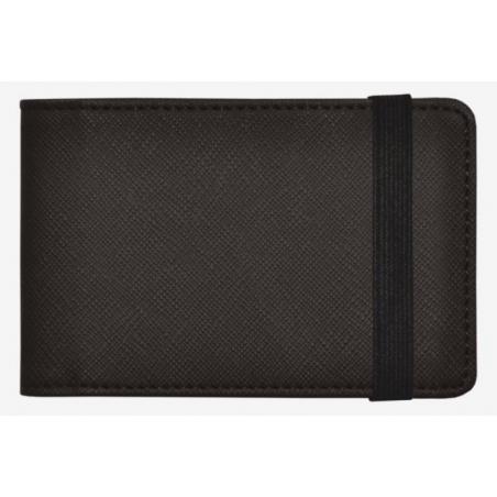 CREDIT CARD HOLDER porta carte NERO schermato RFID BLOCKING con elastico LEGAMI