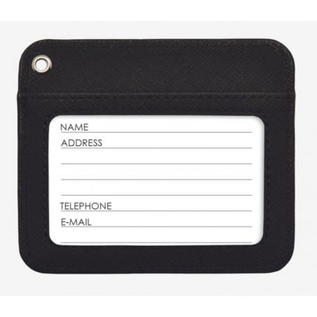 BADGE HOLDER porta badge NERO con laccio EFFETTO PELLE da viaggio LEGAMI