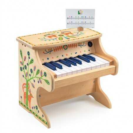 PIANO pianoforte ANIMAMBO gioco in legno DJECO DJ06006 elettronico 18 TASTI età 3+
