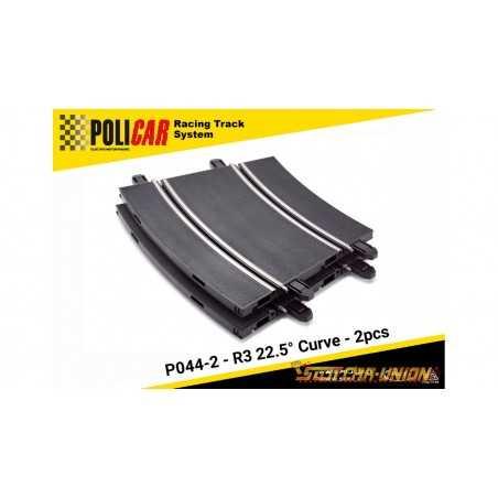 CURVA R3 A 22.5 GRADI electric motor racing POLICAR 2 pezzi SPARE PARTS slot P044-2 curve
