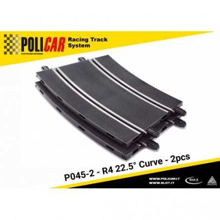 CURVA R4 A 22.5 GRADI electric motor racing POLICAR 2 pezzi SPARE PARTS slot P045-2 curve