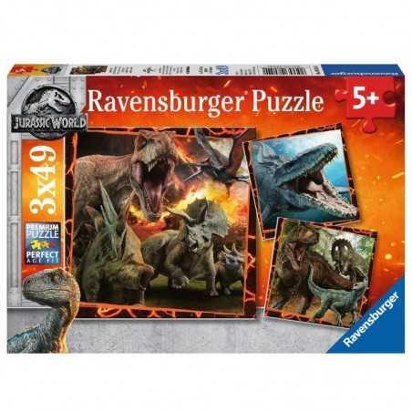 JURASSIC WORLD istinto da cacciatore 3 PUZZLE da 49 pezzi RAVENSBURGER 21 x 21 cm UNIVERSAL età 5+
