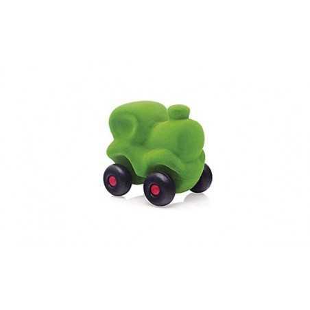 CHOO CHOO TRAIN GREEN macchinina LOCOMOTIVA morbida VERDE gomma naturale RUBBABU età 1+
