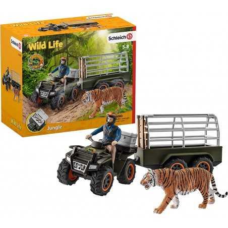 Set ATV QUAD CON RIMORCHIO TIGRE E RANGER jungle SCHLEICH kit gioco WILD LIFE 42351 miniature in resina 5+
