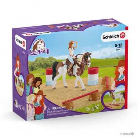 HANNA CIRCUITO DI EQUITAZIONE AMERICANO cavalli in resina SCHLEICH 42441 horse club WESTERN RIDING SET età 5+