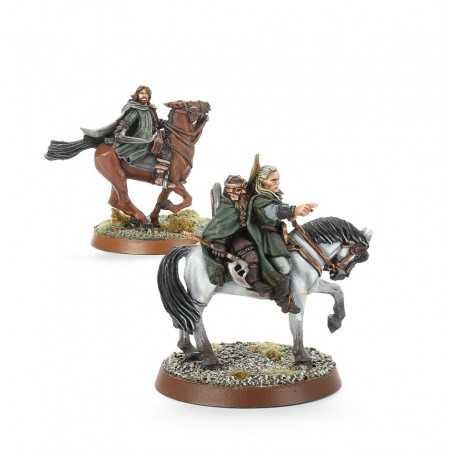 I TRE CACCIATORI A CAVALLO Lord of the Rings Legolas Gimli Aragorn 3 miniature Terra di Mezzo