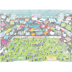 PUZZLE fabio vettori CALCIO STADIO made in italy 1080 PEZZI eco friendly 48,5 X 68,5 CM le formiche FABIO VETTORI - 1