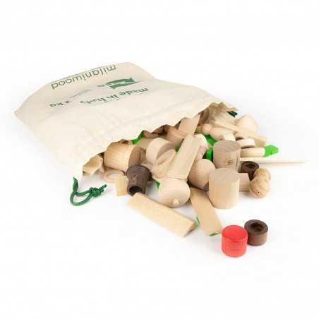 SURPRISE SACCO 2 KG PEZZI RIUSO gioco in legno MILANIWOOD 100% made in Italy 4+