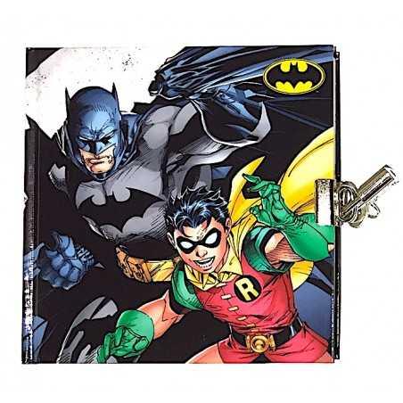 DIARIO SEGRETO con lucchetto BATMAN E ROBIN quadrato GUT lockable journal BLU con doppia chiave