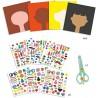 PARRUCCHIERE kit artistico CREARE CON GLI STICKERS set creativo DJECO adesivi DJ09045 età 3+