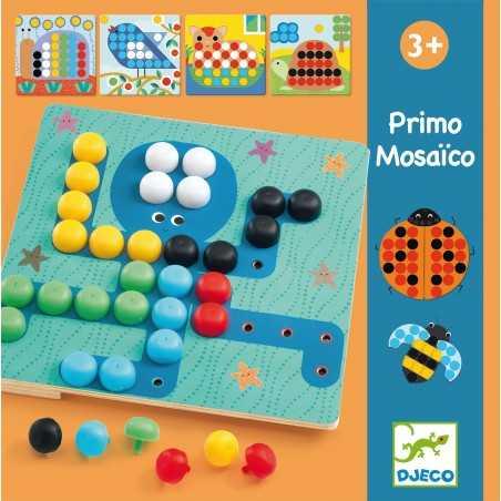 PRIMO MOSAICO 8 disegni BASE IN LEGNO chiodini DJECO animali DJ058140 età 3+