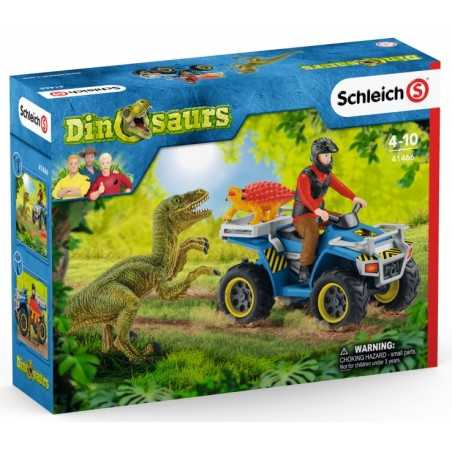 FUGA SUL QUAD set dinosauri DINOSAURS schleich 41466 miniature in resina KIT età 4+