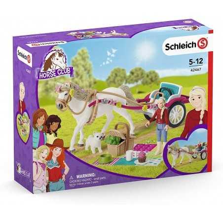 CARROZZA CON CAVALLO set cavalli SCHLEICH miniature in resina HORSE CLUB carriage 42467 età 5+