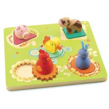 Puzzle BILDI legno 5 pz. DJECO PAPERA E AMICI età +12m DJ01030 Djeco - 1
