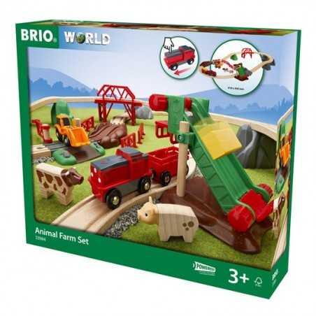 SET FERROVIA CON ANIMALI trenini in legno BRIO ferrovia treni LOCOMOTIVA A PILE età 3+