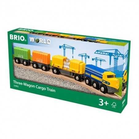 TRENO CARGO 3 VAGONI trenini in legno BRIO ferrovia treni CON LOCOMOTIVA età 3+