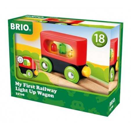 PRIMO VAGONE trenini in legno BRIO bambini piccoli CON LUCI età 18 mesi +
