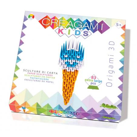 CREAGAMI KIDS origami 3D GELATO carta da piegare EXTRA LARGE creativamente MADE IN ITALY età 5+