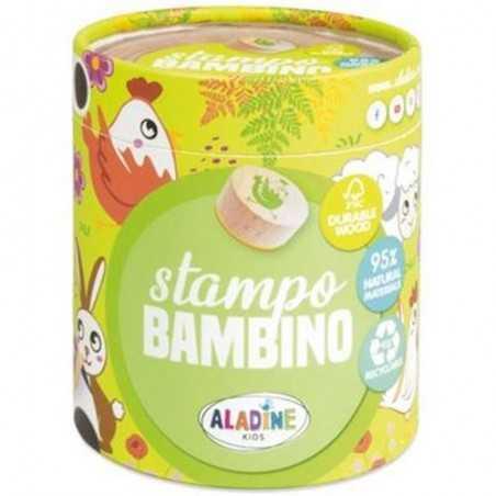 STAMPO BAMBINO stampini FATTORIA con tampone nero 8 TIMBRI aladine kids IN LEGNO età 3+