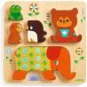 PUZZLE IN LEGNO gioco ad incastro WOODYPILE in rilievo DJECO impilabili DJ01056 età 12 mesi +