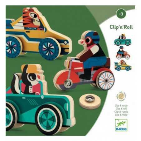 CLIP'N'ROLL gioco in legno DJECO ruote a bottone DJ01673 età 3+