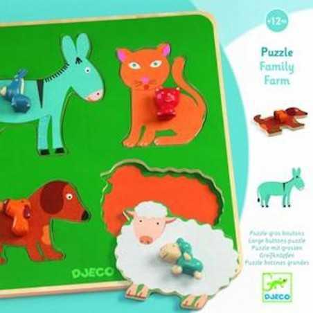 PUZZLE in legno FAMILY FARM incastri DJECO pomelli grandi DJ01061 età 12 mesi +