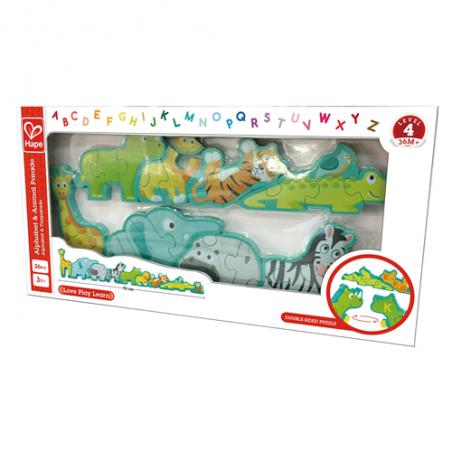 PUZZLE in legno ANIMALI CON ALFABETO gioco HAPE double face 78 CM incastri 26 PEZZI età 3+