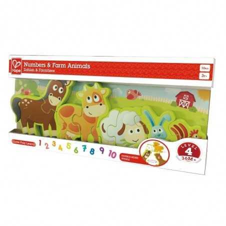 PUZZLE in legno ANIMALI DELLA FATTORIA E NUMERI gioco HAPE double face 10 PEZZI età 3+