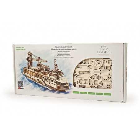 NAVE PER LA RICERCA SCIENTIFICA research vessel UGEARS in legno PUZZLE 3D funzionante 575 PEZZI età 14+