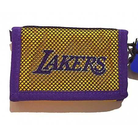 PORTAFOGLI panini LOS ANGELES LAKERS portafoglio NBA basket 2020 2021 originale GIALLO con velcro Franco Panini Ragazzi - 1