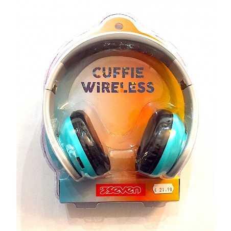 CUFFIE WIRELESS headphone CON MICROFONO INTERNO ricaricabile USB seven AZZURRO E BIANCO