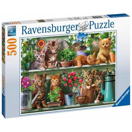 PUZZLE ravensburger GATTI SULLA MENSOLA cats on the shelf 500 PEZZI original 49 X 36 CM
