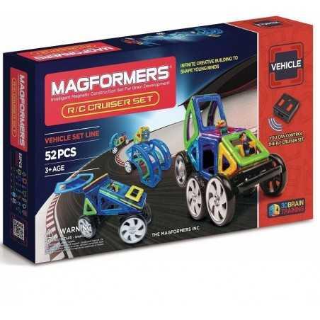 MAGFORMERS radio controllato R/C CRUISER SET vehicle line 52 PEZZI con controller COSTRUZIONI magnetiche 3D età 3+