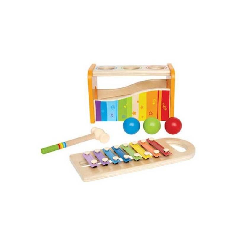 BANCO PALLINA E XILOFONO in legno banco musicale palline martello xilofono HAPE